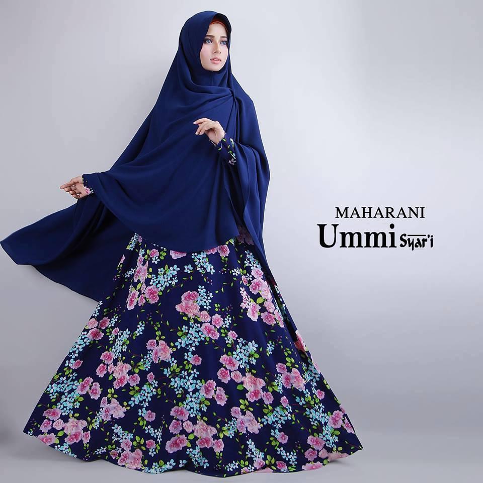 Maharani Navy Blue Baju Muslim Gamis Modern