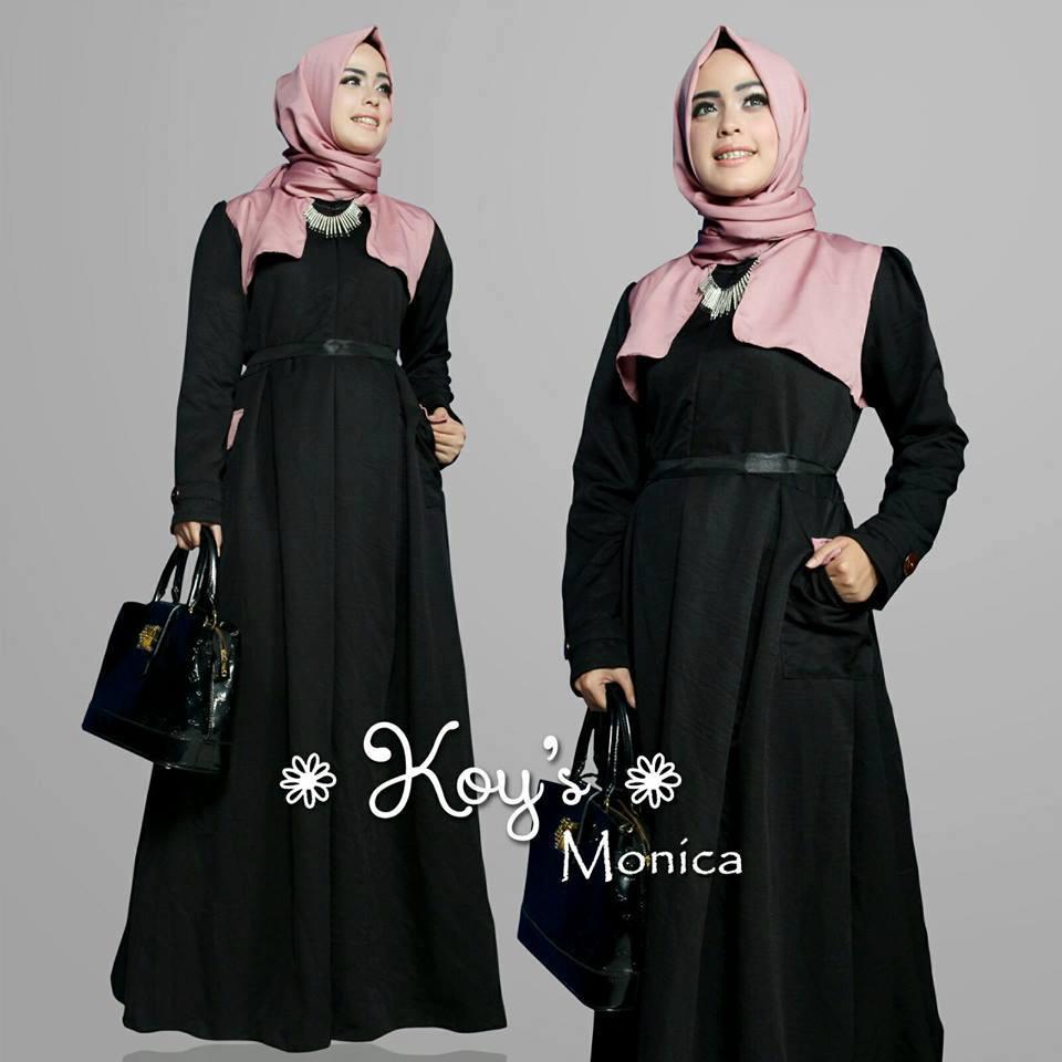 Monica Hitam Baju Muslim Gamis Modern