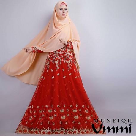 Munfiqh Soft Orange Baju Muslim Gamis Modern
