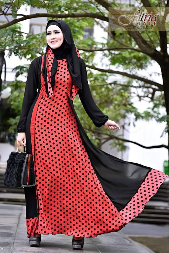 Najelina Merah Hitam Baju Muslim Gamis Modern