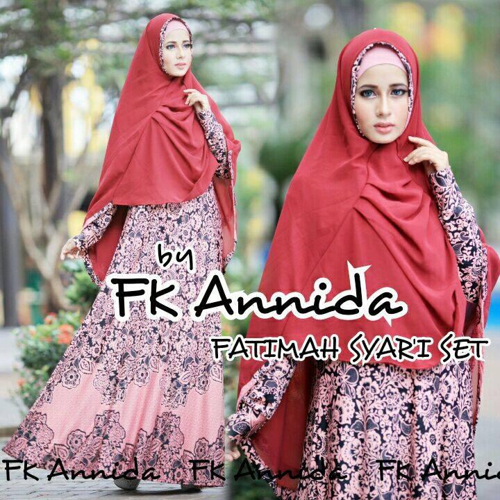 Fatimah Red Baju Muslim Gamis Modern