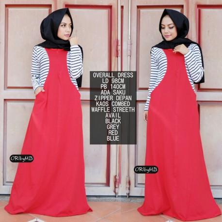 Overall Red Baju Muslim Gamis Modern