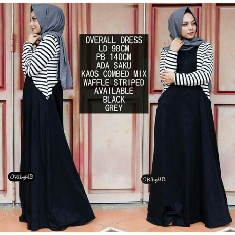 Overall Black Baju Muslim Gamis Modern