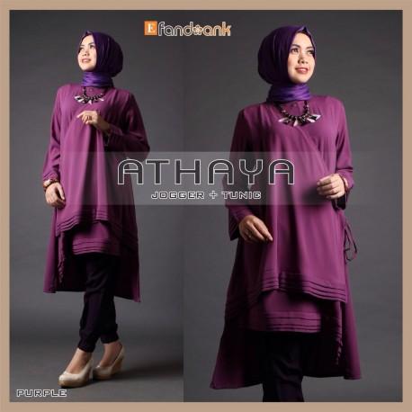 Athaya purple baju muslim gamis modern Baju gamis nevada
