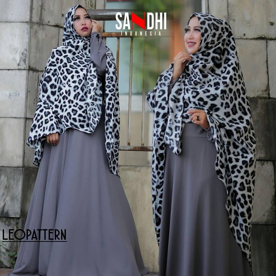 Leopattern Grey Baju Muslim Gamis Modern
