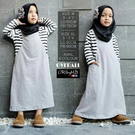 Overall Kid Grey Baju Muslim Gamis Modern