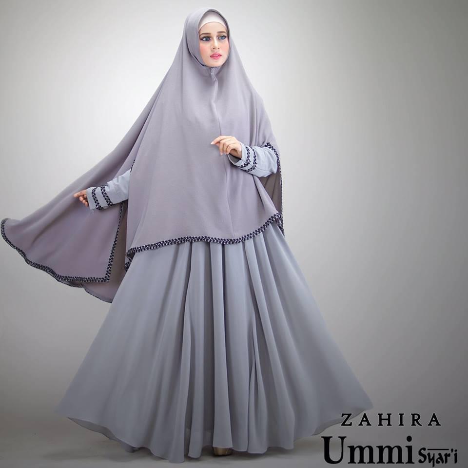 Zahira Grey Baju Muslim Gamis Modern