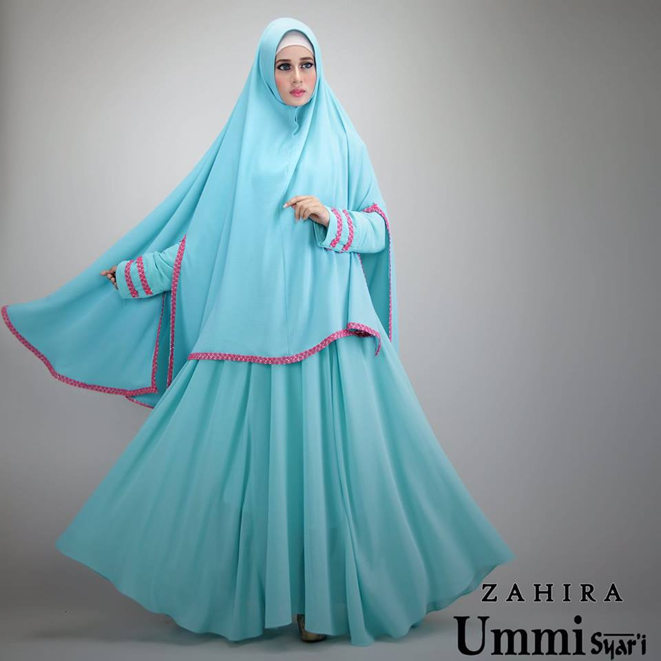 Zahira Blue Baju Muslim Gamis Modern