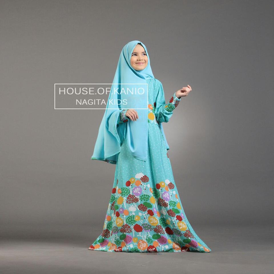 Nagita Kids Blue Baju Muslim Gamis Modern