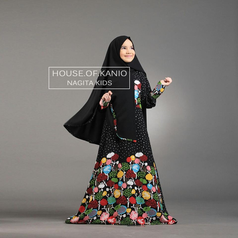 Nagita Kids Black Baju Muslim Gamis Modern
