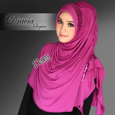 Dravia Sequin Violet Baju Muslim Gamis Modern