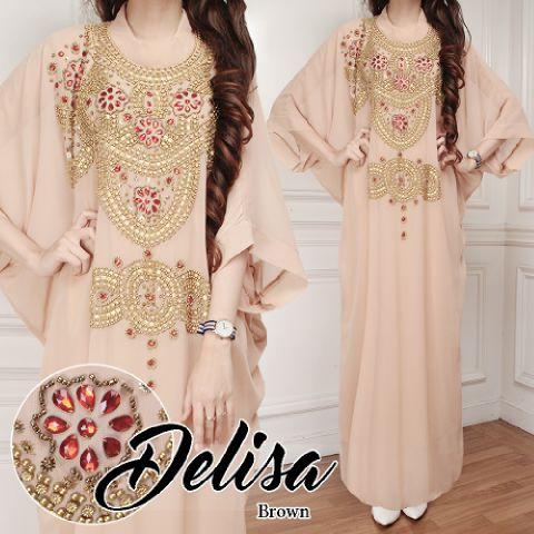 Kaftan Delisa Peach Baju Muslim Gamis Modern