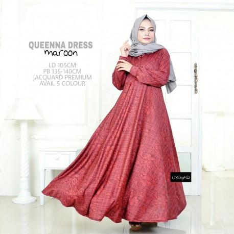 Queena Maroon Baju Muslim Gamis Modern