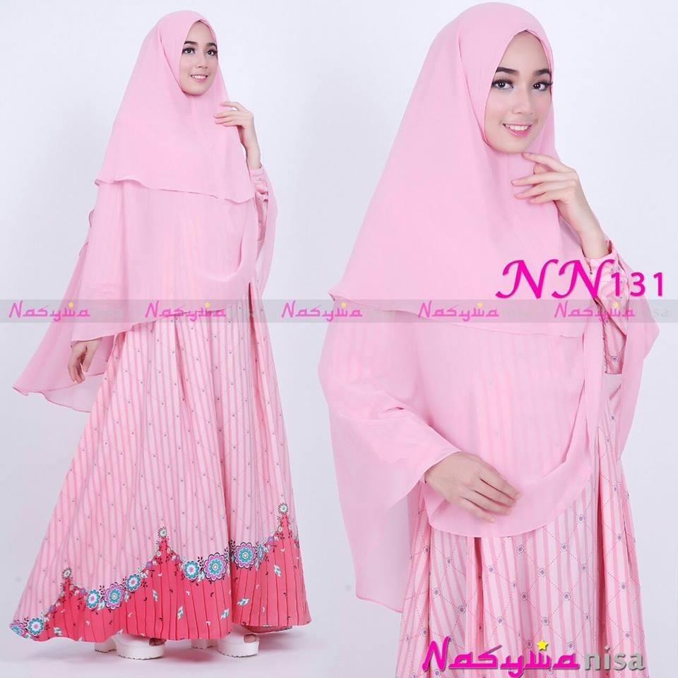 Nn131 Pink Baju Muslim Gamis Modern