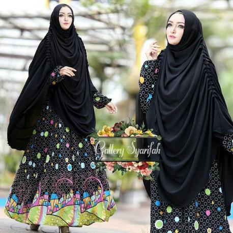 Azizah Hijab Black Baju Muslim Gamis Modern