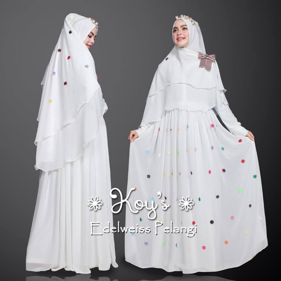 Edelweiss Pelangi White Baju Muslim Gamis Modern