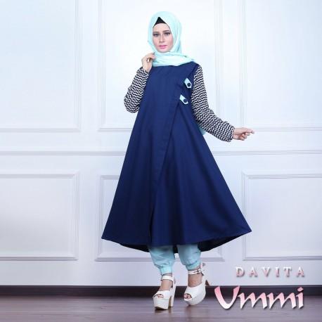 Davita Navy Baju Muslim Gamis Modern