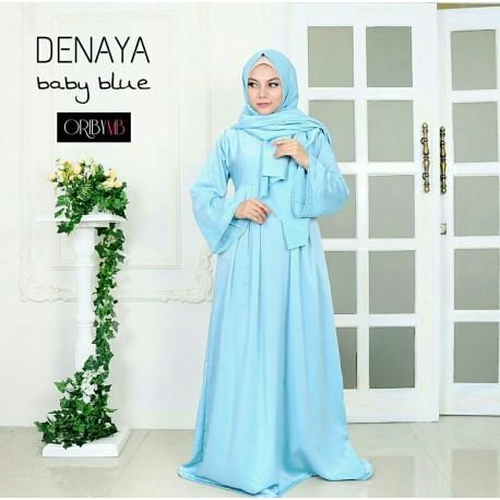 Denaya B Blue Baju Muslim Gamis Modern