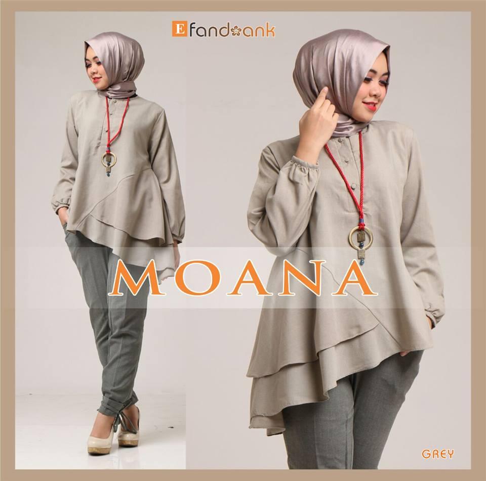 Moana Grey Baju Muslim Gamis Modern