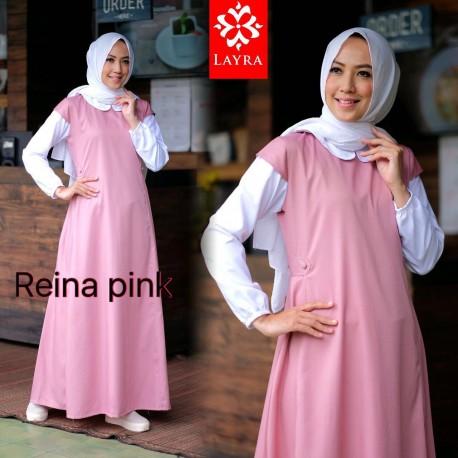 Reina pink baju muslim gamis modern Baju gamis model najwa