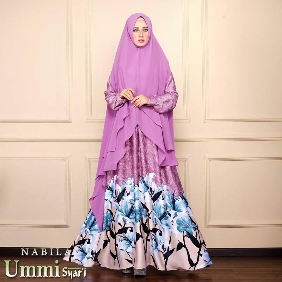 Nabila Violet Baju Muslim Gamis Modern