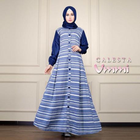 Calesta Navy Baju Muslim Gamis Modern