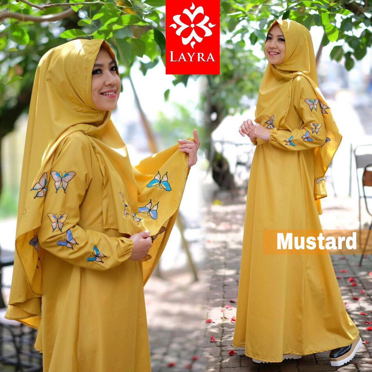 baju muslim butterfly mustard layra