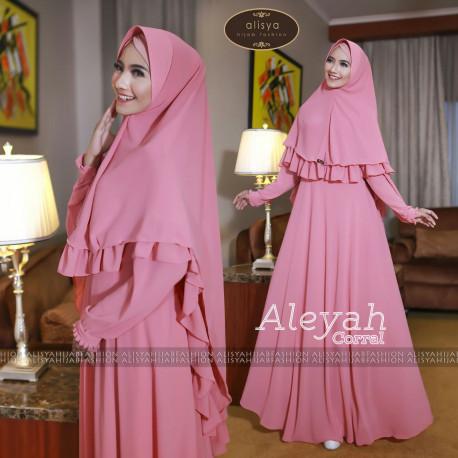 Aleyah Coral Baju Muslim Gamis Modern