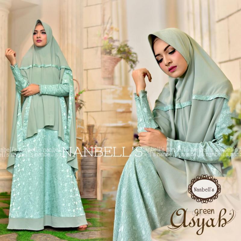 Asyah Green Baju Muslim Gamis Modern
