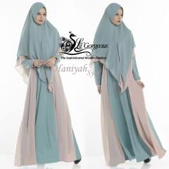 Jual gamis terbaru Haniyah by Lil gorgeous Dusty blue