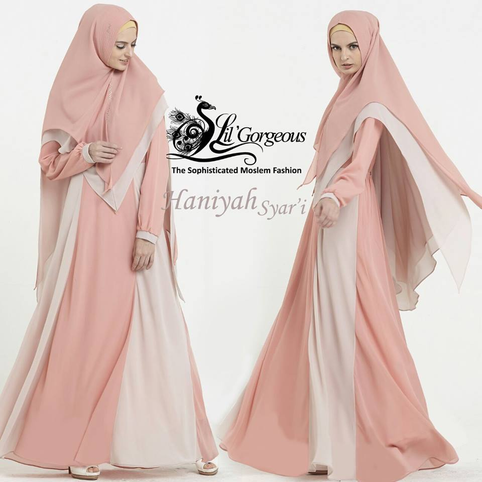 pusat grosir gamis Haniyah by Lil gorgeous peach