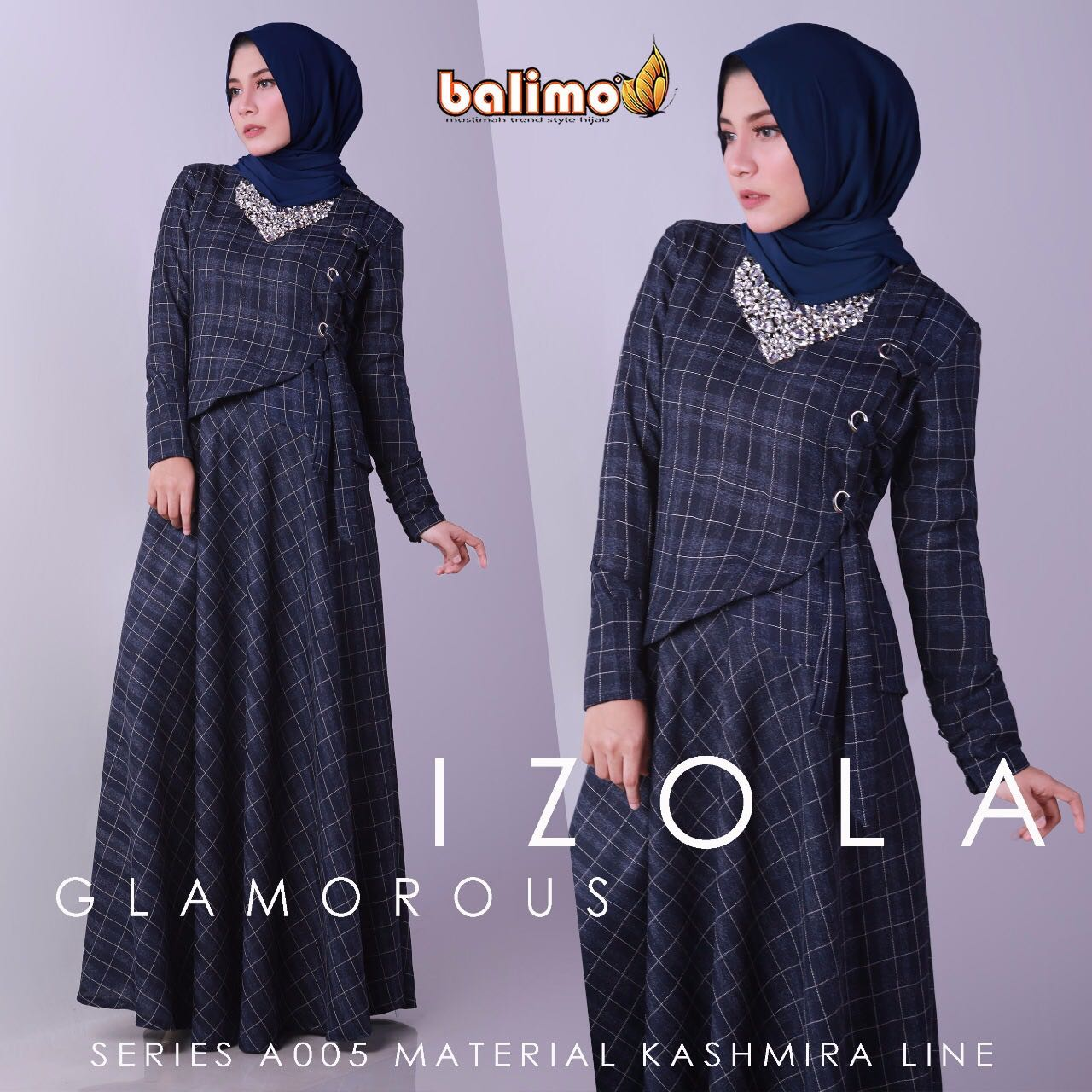 Model baju muslim izola by balimo navy blue