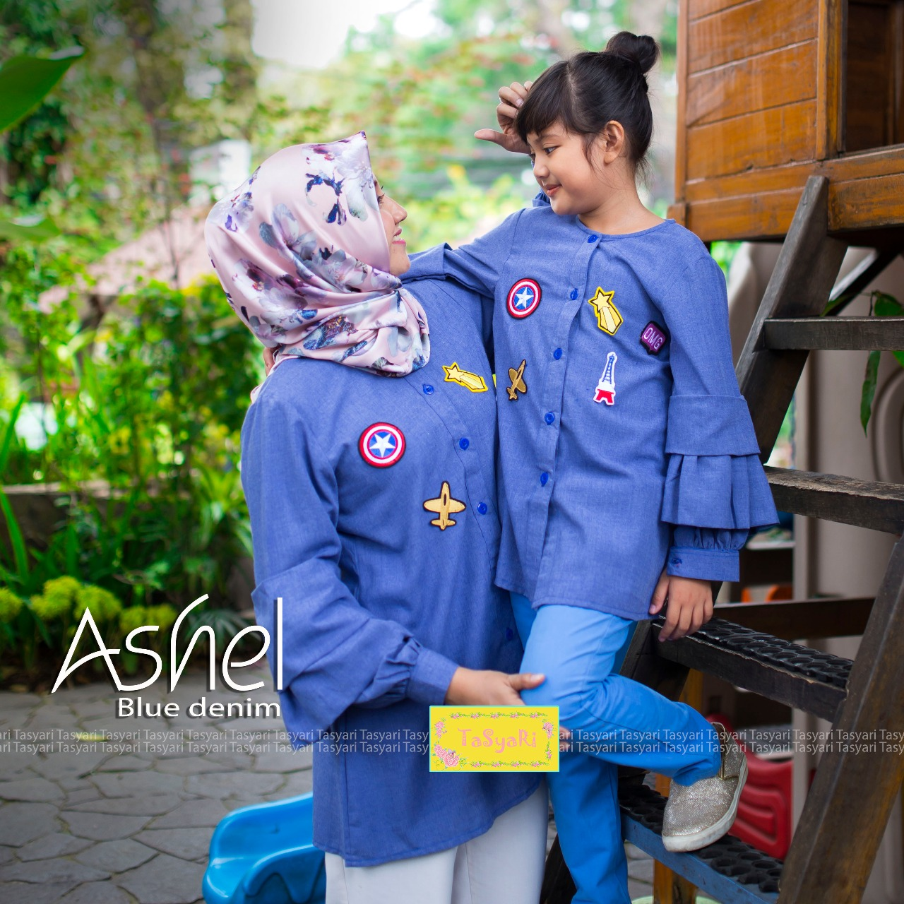 Baju muslim, model gamis, style busana muslim ashel by tasyari blue denim