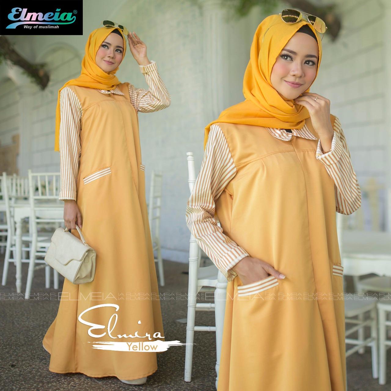 Baju muslim terbaru elmira by Elmeia yellow