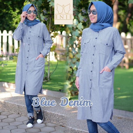 Gamis modern zara tunik by inji Navy Blue
