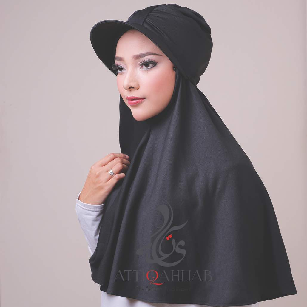 Hijab modern turtop by atika hijab black