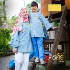 Jual baju muslim, model gamis couple, busana muslim ashel by tasyari grey