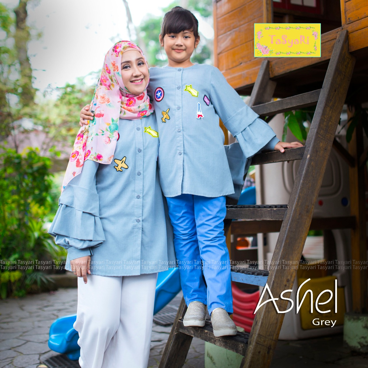 Jual baju muslim, model gamis couple, busana muslim ashel by tasyari grey