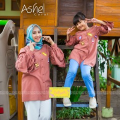 Model gamis, busana muslim, jual tunik couple, baju muslim ashel by tasyari coral