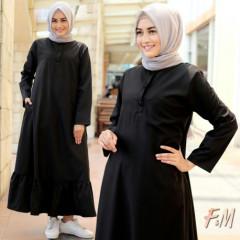 baju gamis Alina dress by fm fashion Black