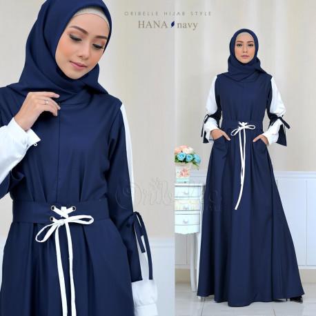 baju gamis Hana By Oribelle Hijab Navy