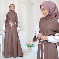 baju gamis Hana By Oribelle Hijab mocca