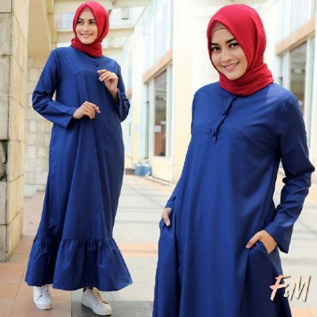 baju gamis terbaru Alina dress by fm fashion navy blue
