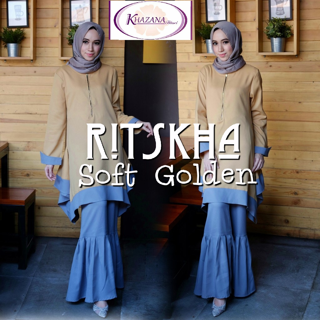 baju muslim ritskha by khazana soft golden