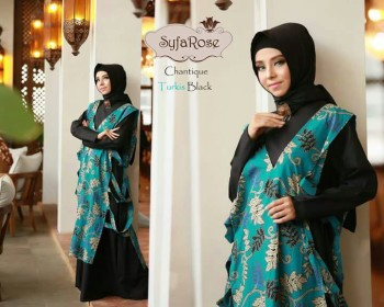 baju muslim terbaru chantique by syfa rose turkis blcak