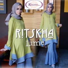 baju muslim terbaru ritshka by khazana lime
