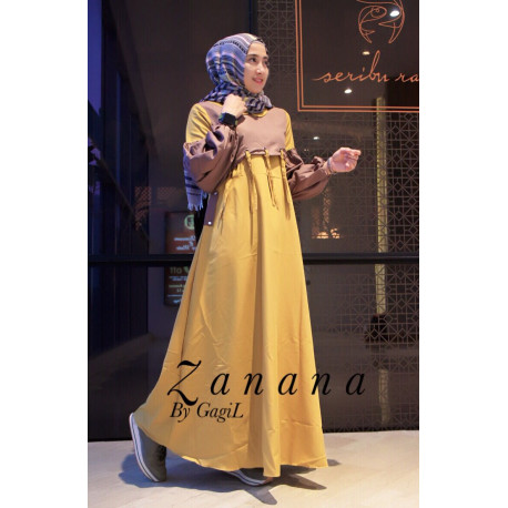gamis anak muda zanana dress by gagil yellow