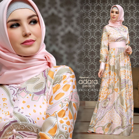 gamis model terbaru adara dress by cynarra peach