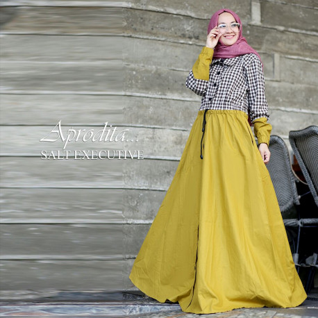 gamis pesta terbaru aprodita by salt executive yellow