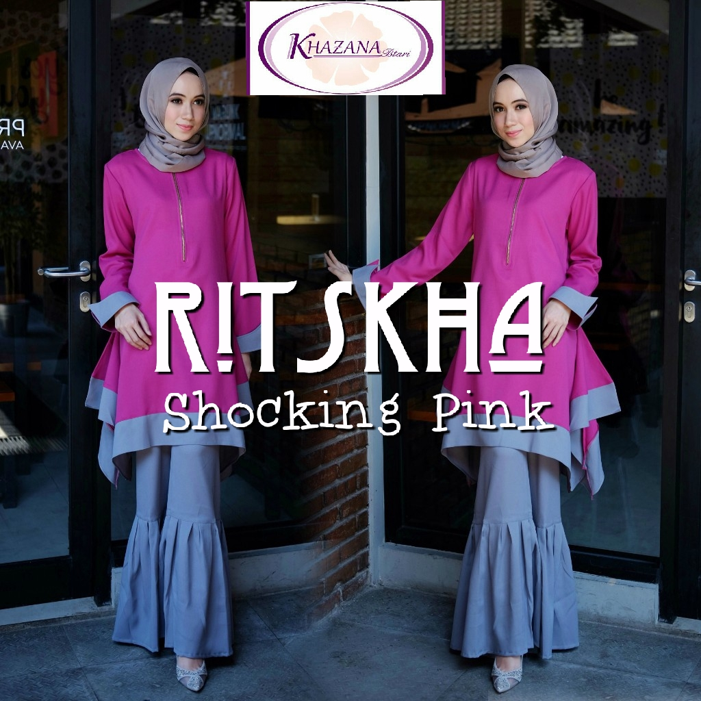 gamis ritskha by khazana shocking pink
